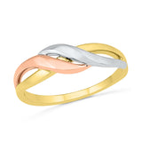 3 Tone Swirly Gold Ring