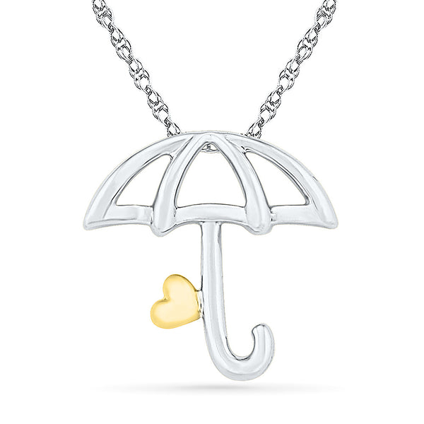 2 Tone Umbrella Gold Pendant