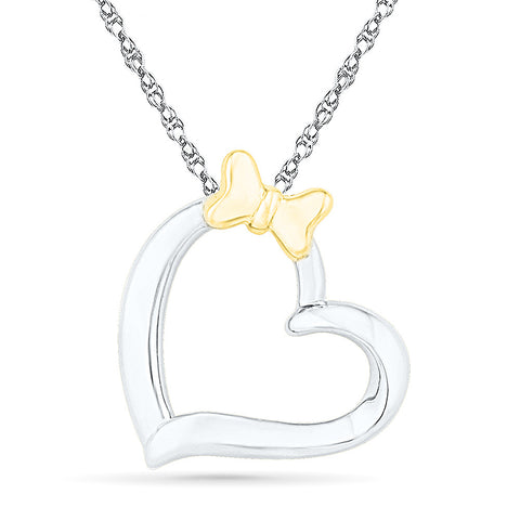 2 Tone Bow & Heart Gold Pendant