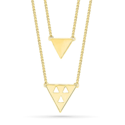 Multi-Layer Triangular Gold Necklace