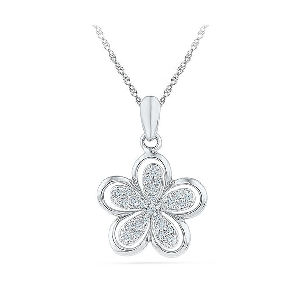Silver Cross pendant in Prong Setting with Diamonds