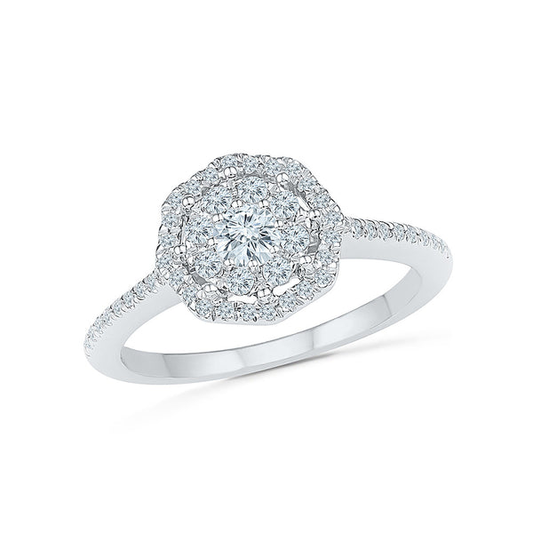14kt / 18kt white and yellow gold Sunshine Setter Diamond Cocktail Ring for women online in PRONG setting