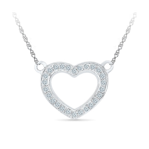 14k and 18k Gold Ornamental Heart Diamond Necklace in PRONG setting online for women