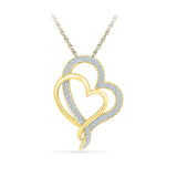 Best of Two Heart Pendant in 14k and 18k Gold online for women