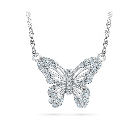 14k and 18k Gold Butterfly Glory Diamond Necklace in PRONG setting online for women