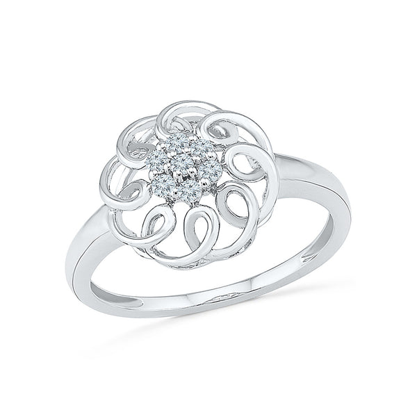 14kt / 18kt white and yellow gold Floral Fusion Diamond Ring  in PRONG for women online