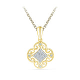 Classy Royal Square Diamond Pendant in 14k and 18k Gold online for women