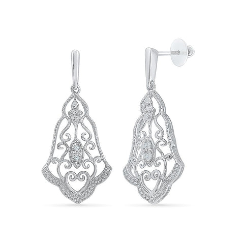 Classy Chandelier Diamond Drop Earrings in 92.5 Sterling Silver for women online