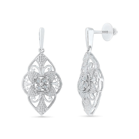 Tracery Lush Diamond Drop Earrings in 92.5 Sterling Silver for women online