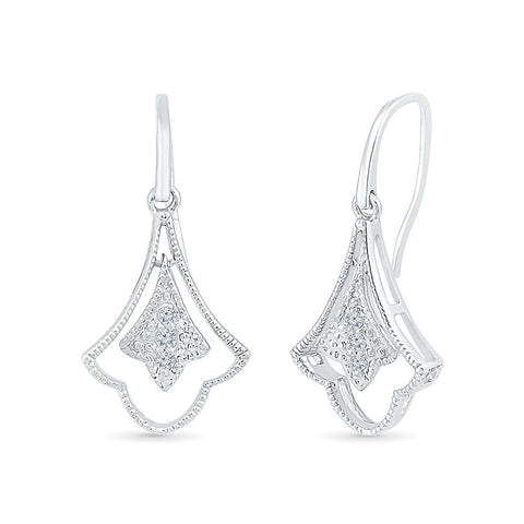 Luxurious Dangle Diamond Drop Earrings in 92.5 Sterling Silver for women online