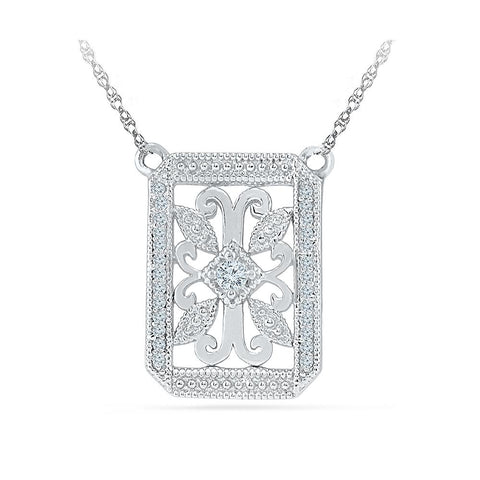 Silver Fancy Real Diamond Necklace in Prong Setting