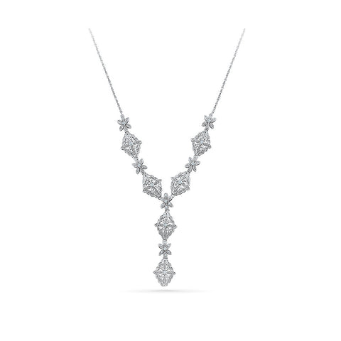 14k and 18k Gold Decorative Floral Diamond Necklace in Prong,Miracle setting online for women