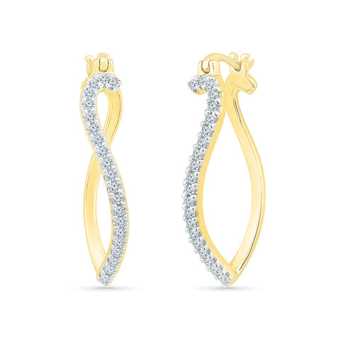 Dance of Two Diamond Hoops in 14k and 18k gold
