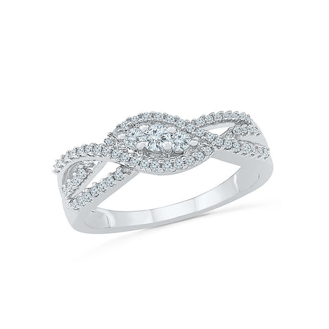 14kt / 18kt white and yellow gold Flourishing Infinity Everyday Diamond Ring in PRONG for women online
