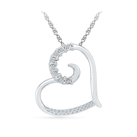 Silver Heart pendant in Prong Setting with Diamonds