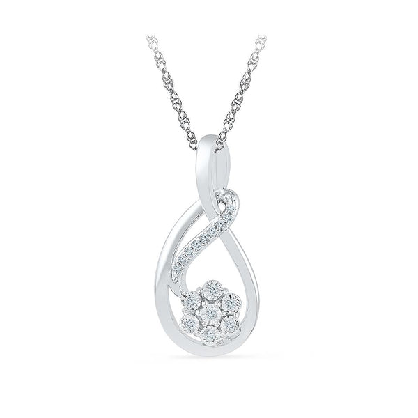 Silver Latest Diamond pendant in Prong Setting