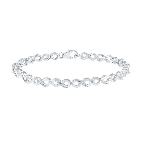 infinity diamond bracelet for parties  in white and yellow gold