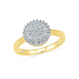 14kt / 18kt white and yellow gold Sunflower Cluster Cocktail Ring  in PRONG for women online