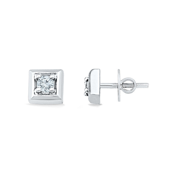 Square Style Diamond Stud Earrings for kids in gold