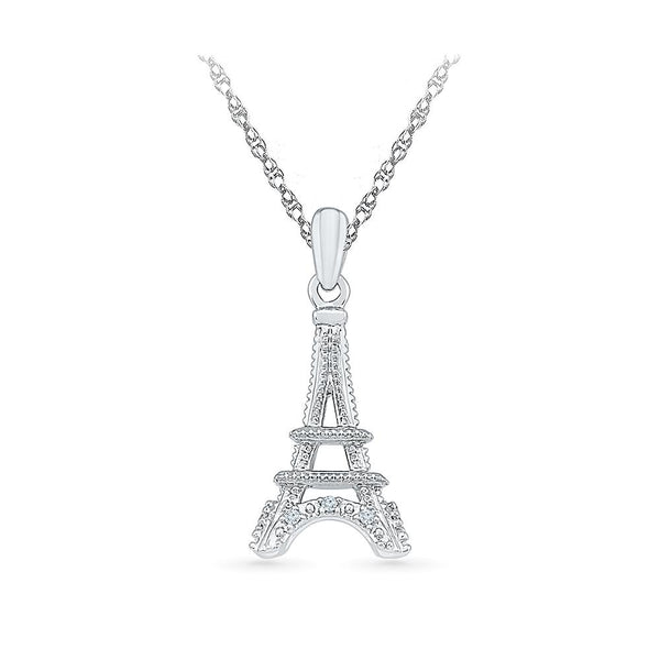 Silver Love Diamond pendant in Prong Setting
