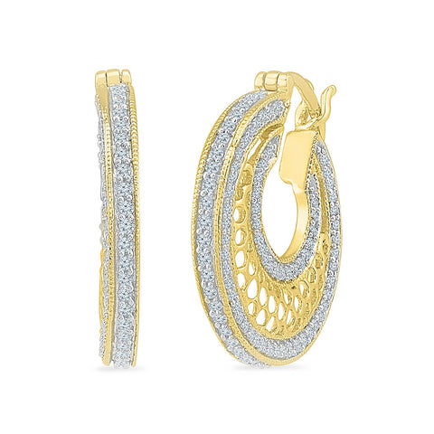 Aesthetic Diamond Hoop Earrings in 14k and 18k gold