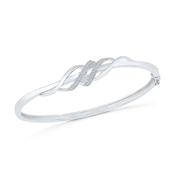 stylish diamond bangle for weddings  in white and yellow gold