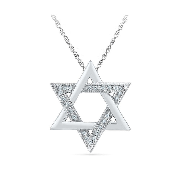 Silver Star Diamond pendant in Prong Setting