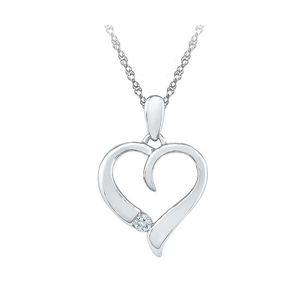 couple special one diamond heart pendant in 14k and 18k Gold online for women