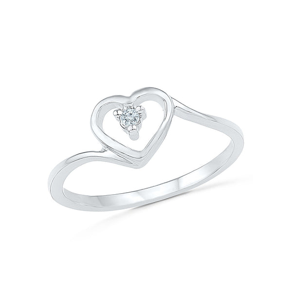 14kt / 18kt white and yellow gold Heart Bling Everyday Diamond Ring in PRONG for women online