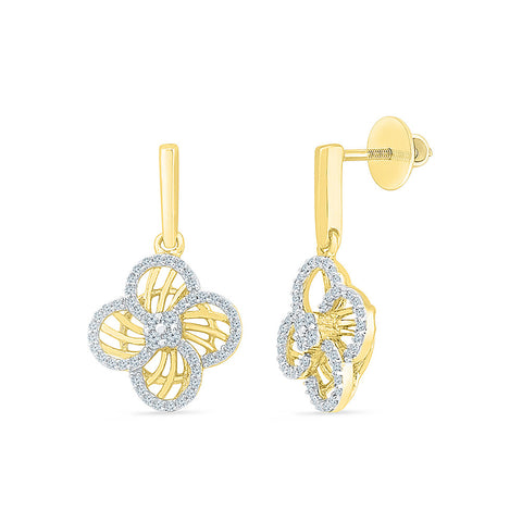 Classy Floral Drop Diamond Earrings in 14k and 18k gold
