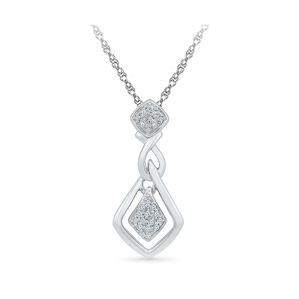 Silver women pendant in Prong Setting with Diamonds