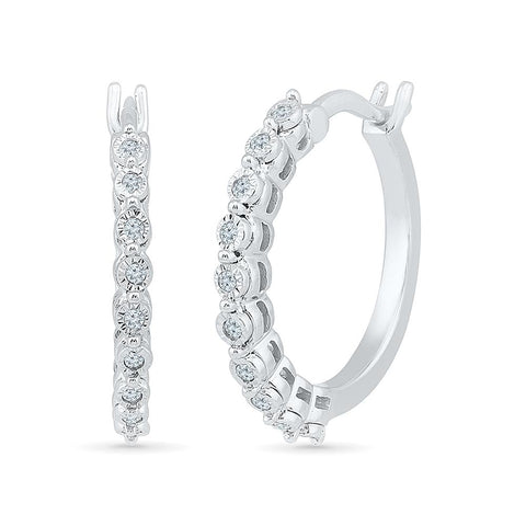 Detail Dazzle Diamond Hoop Earrings in 92.5 Sterling Silver for women online