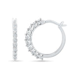 Detail Dazzle Diamond Hoop Silver Earrings