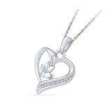 Floral Heart Diamond Pendant