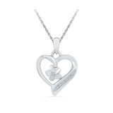 Floral Heart Diamond Pendant in 14k and 18k Gold online for women