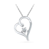 Silver Tiny Heart Petals Pendant with Prong Set Round Diamonds