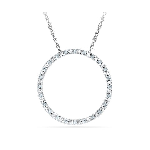 Silver Circle Pendant with Prong Set Round Diamonds
