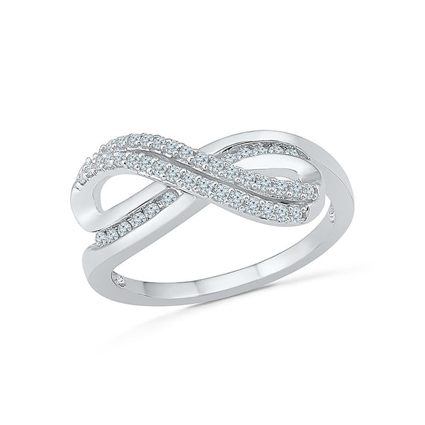 14kt / 18kt white and yellow gold Infinity Accolade Everyday Diamond Ring in Prong and Nick setting online for women