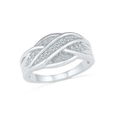 14kt / 18kt white and yellow gold Ribbon Ripples Diamond Cocktail Ring in PRONG for women online
