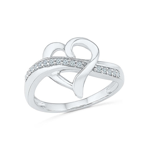 Silver Heart Design Ring with Prong Set Diamonds
