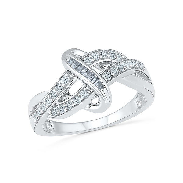 14kt / 18kt white and yellow gold  Double Row Diamond Cocktail Ring in Prong and Channel setting online for women
