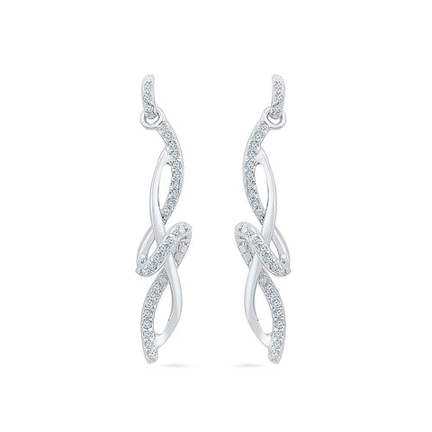 Contemporary Diamond Drop Earrings in 14k and 18k gold