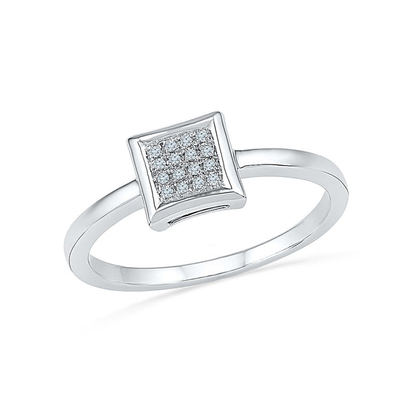 14kt / 18kt white and yellow gold subtle square  in PRONG for women online