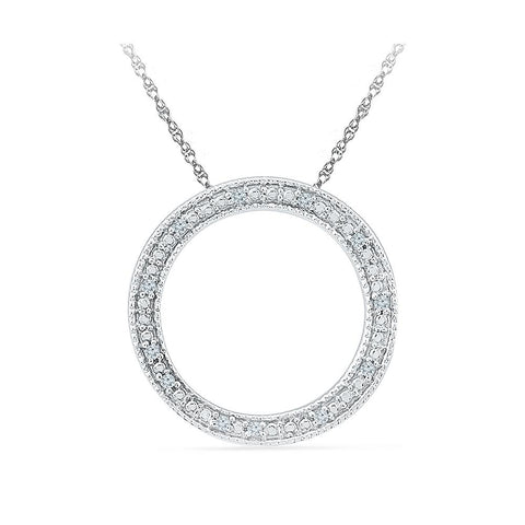 Circle Ablaze Diamond Silver Necklace