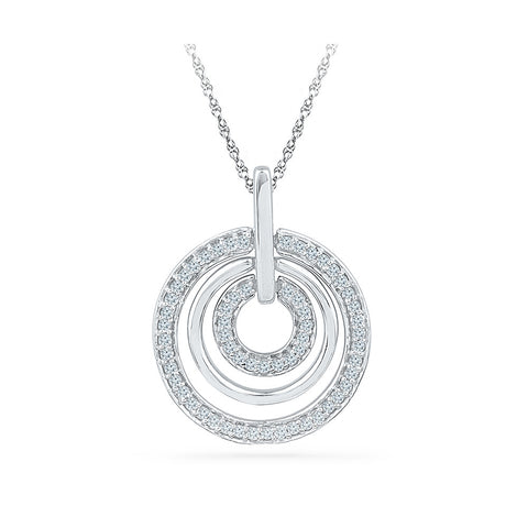 Circle In Circle Diamond Pendant in 14k and 18k Gold online for women