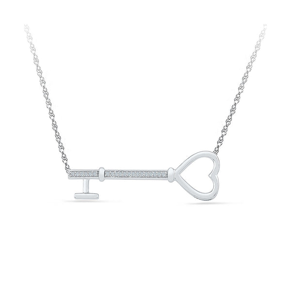 14k and 18k Gold The Love Key Diamond Necklace in PRONG setting online for women