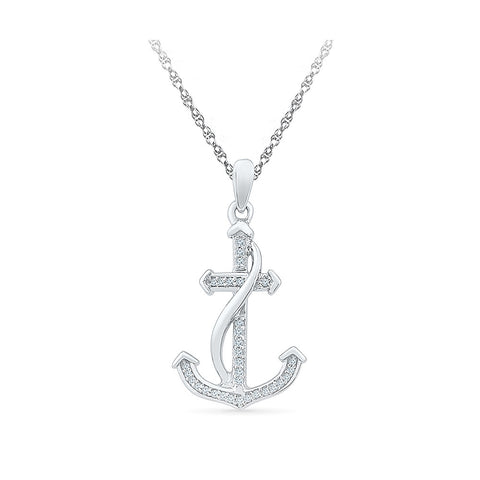 Alluring Anchor Diamond Pendant in 14k and 18k Gold online for women