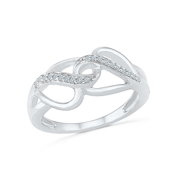 Silver Criss Crossing Ring with Prong Set Diamonds