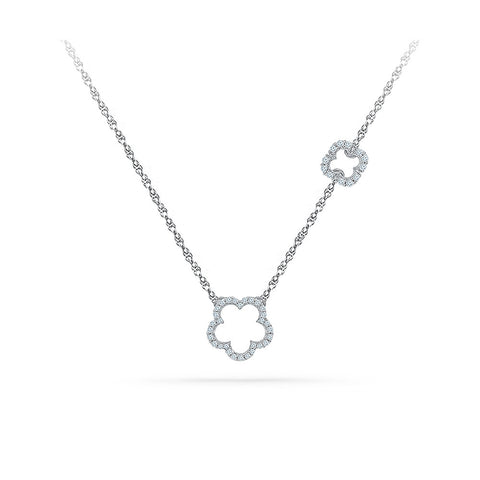 14k and 18k Gold Clover Expressions Diamond Necklace in Prong setting online for women