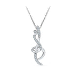 Silver Music Diamond pendant in Prong Setting